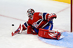 15 October 2009: Montreal Canadiens' goaltender Carey Price makes a first period save against the Colorado Avalanche at the Bell Centre in Montreal, Quebec, Canada. The Avalanche defeated the Canadiens 3-2 in the home opening game for the Habs. Mandatory Credit: Ed Wolfstein Photo