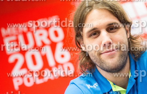 Dean Bombac during press conference of Team Slovenia on Day 1 of Men's EHF EURO 2016, on January 15, 2016 in Hotel Mercure Wrocław Centrum, Wroclaw Poland. Photo by Vid Ponikvar / Sportida
