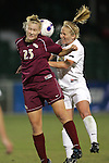 9 November 2007: Florida State's Sanna Talonen (25) and Wake Forest's Amy Smerdzinski (21) challenge for a header. Florida State University defeated Wake Forest University 5-2  at the Disney Wide World of Sports complex in Orlando, FL in an Atlantic Coast Conference tournament semifinal match.
