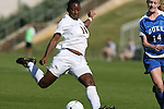 04 November 2009: Florida State's Tiffany McCarty takes a shot. The Florida State University Seminoles defeated the Duke University Blue Devils 2-0 at Koka Booth Stadium in WakeMed Soccer Park in Cary, North Carolina in an Atlantic Coast Conference Women's Soccer Tournament Quarterfinal game.