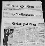 New York City, NY, June 13th, 1971. Front page of the New York Times, The Pentagon Papers: Three consecutive days, from June 13th, 14th, and 15th, 1971.
