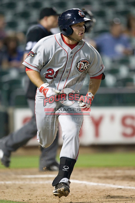 Firstbaseman Koby Clemens #21 of the Oklahoma City RedHawks runs to first base against the Round Rock Express on April 26, 2011 at the Dell Diamond in Round Rock, Texas. (Photo by Andrew Woolley / Four Seam Images)