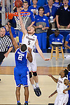 07 APR 2014: Niels Giffey (5) of the University of Connecticut blocks a shot by Aaron Harrison (2) of the University of Kentucky during the 2014 NCAA Men's DI Basketball Final Four Championship at AT&T Stadium in Arlington, TX.  Connecticut defeated Kentucky 60-54 to win the national title. Brett Wilhelm/NCAA Photos