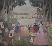 Fresco entitled La Periode Classique, 1 of a series of 4 paintings depicting the 4 ages of French art, showing the French royal court in the gardens of the Palais de Versailles, with Marie Antoinette and the Dauphin, Mabel Gage, Voltaire and Antoine Watteau painting his painting L'Indifferent of 1716, painted in Art Deco style in 1929-30 by Robert La Montagne Saint-Hubert, 1887-1950, and 2 assistants, Ethel Wallace and James Newell, 1900-1985, 1 of 6 frescoes which were discovered during works in 1994 and restored in 2011, in the Grand Salon or Great Hall of the Fondation des Etats Unis or American Foundation, designed by Pierre Leprince-Ringuet, 1874-1954, and inaugurated in 1930, in the Cite Internationale Universitaire de Paris, in the 14th arrondissement of Paris, France. The Grand Salon is listed as a historic monument. The CIUP or Cite U was founded in 1925 after the First World War by Andre Honnorat and Emile Deutsch de la Meurthe to create a place of cooperation and peace amongst students and researchers from around the world. It consists of 5,800 rooms in 40 residences, accepting another 12,000 student residents each year. Picture by Manuel Cohen. Further clearances may be requested.