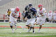 College Park, MD - February 25, 2017: Yale Bulldogs Camyar Matini (31) tries to scoop the loose ball during game between Yale and Maryland at  Capital One Field at Maryland Stadium in College Park, MD.  (Photo by Elliott Brown/Media Images International)