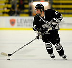 30 December 2007: Western Michigan University Broncos' defenseman Kevin O'Connor, a Sophomore from Trenton, MI, in action against the Holy Cross Crusaders at Gutterson Fieldhouse in Burlington, Vermont. The teams skated to a 1-1 tie, however the Broncos took the consolation game in a 2-0 shootout to win the third game of the Sheraton/TD Banknorth Catamount Cup Tournament...Mandatory Photo Credit: Ed Wolfstein Photo