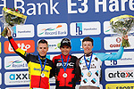 Greg Van Avermaet (BEL) BMC Racing Team wins with  Philippe Gilbert (BEL) Quick-Step Floors in 2nd place and Oliver Naesen (BEL) AG2R La Mondiale in 3rd on the podium at the end of the 60th edition of the Record Bank E3 Harelbeke 2017, Flanders, Belgium. 24th March 2017.<br /> Picture: Yuzuru Sunada   Cyclefile<br /> <br /> <br /> All photos usage must carry mandatory copyright credit (&copy; Cyclefile   Yuzuru Sunada)