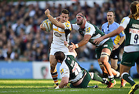 Jimmy Gopperth of Wasps takes on the Leicester Tigers defence. Aviva Premiership match, between Leicester Tigers and Wasps on November 1, 2015 at Welford Road in Leicester, England. Photo by: Patrick Khachfe / Onside Images
