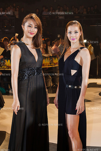 (L to R) Fashion model and actress Maryjun Takahashi and the singer, actress and fashion model Anna Tsuchiya pose for the cameras during the Japan premiere for the film ''Mad Max: Fury Road'' in Tokyo Dome City Hall on June 4, 2015. The post-apocalyptic action movie directed, produced and co-written by George Miller is the fourth title of the Mad Max franchise filmed after 30 years since the last movie Mad Max Beyond Thunderdome in 1985. The British actor Tom Hardy as Mad Max Rockatansky replaced the actor Mel Gibson in the title role. The movie will be released on June 20th in Japan. (Photo by Rodrigo Reyes Marin/AFLO)