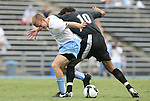31 August 2008: UNC's Garry Lewis (left) and VCU's Gerson Dos Santos (BRA) (10). The University of North Carolina Tar Heels defeated the Virginia Commonwealth University Rams 1-0 in overtime at Fetzer Field in Chapel Hill, North Carolina in an NCAA Division I Men's college soccer game.
