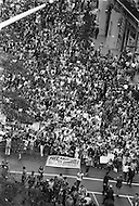 Manhattan, New York City, NY. August 26th, 1970.<br /> Feminists march in New York City on August 26, 1970 on the 50th anniversary of the passing of the Nineteenth Amendment which granted American women full suffrage. The National Organization for Women (NOW) called upon women nationwide to &quot;strike for equality&quot; on that day. Marchers on 5th Ave, view from top.
