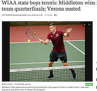 Middleton's Cody Markel hits back to De Pere on Friday in a doubles game of the 2016 Division 1 state boys team tennis quarterfinals at Nielsen Tennis Stadium in Madison. Markel and partner, Dan Jin, won their No. match over De Pere 7-5, 6-3. Article in Wisconsin State Journal Sports 6/11/16 and online at http://host.madison.com/wsj/sports/high-school/tennis/wiaa-state-boys-tennis-middleton-wins-in-division-team-quarterfinals/article_5f79bc59-3de6-560e-9fe5-624e958b88f7.html