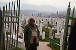 Vratnik neighborhood overlooking downtown Sarajevo. After a funeral in the city cemetery.