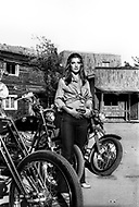 June 1978. Los Angeles, California, USA. Sheila and her motorcycle gang riding around Los Angeles.