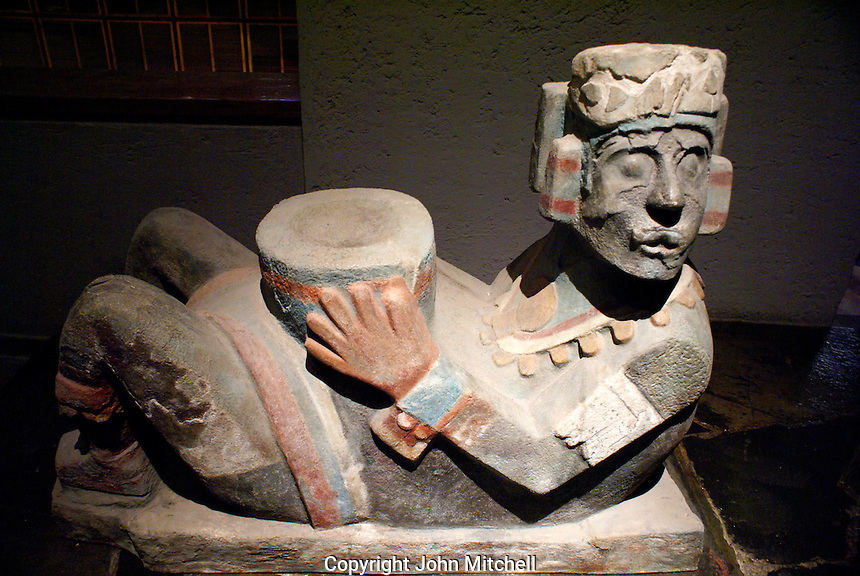 Polychrome Chac-mool figure at the Museo del Templo Mayor, Mexico City.