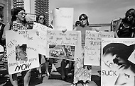 Atlantic City, NJ. December 6th 1969. <br />  Women's Liberation Movement demonstrators carrying picket signs in protest against the Miss America pageant in Atlantic City, New Jersey.