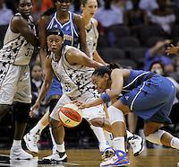 San Antonio's Vickie Johnson (55) guards Washington's Alana Beard (20) during the WNBA game between the San Antonio Silver Stars and the Washington Mystics, June 6, 2008, at the AT&T Center, San Antonio, Texas. (Darren Abate/PressPhotoIntl.com)