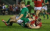 Wales U20's Kieran Williams score his side's fourth try<br /> <br /> Photographer Alex Dodd/CameraSport<br /> <br /> RBS Six Nations U20 Championship Round 4 - Wales U20s v Ireland U20s - Saturday 11th March 2017 - Parc Eirias, Colwyn Bay, North Wales<br /> <br /> World Copyright &copy; 2017 CameraSport. All rights reserved. 43 Linden Ave. Countesthorpe. Leicester. England. LE8 5PG - Tel: +44 (0) 116 277 4147 - admin@camerasport.com - www.camerasport.com