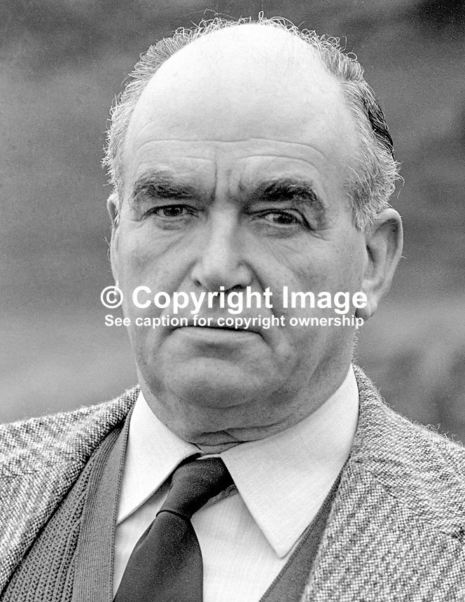 Harry West, leader, 1974 to 1979, Ulster Unionist Party, N Ireland, 197803000107c..Copyright Image from Victor Patterson, 54 Dorchester Park, Belfast, United Kingdom, UK...For my Terms and Conditions of Use go to http://www.victorpatterson.com/Victor_Patterson/Terms_%26_Conditions.html