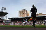 West Ham United 2 Crystal Palace 2, 02/04/2016. Boleyn Ground, Premier League. First-half action at the Boleyn Ground as West Ham United hosted Crystal Palace in a Barclays Premier League match. The Boleyn Ground at Upton Park was the club's home ground from 1904 until the end of the 2015-16 season when they moved into the Olympic Stadium, built for the 2012 London games, at nearby Stratford. The match ended in a 2-2 draw, watched by a near-capacity crowd of 34,857. Photo by Colin McPherson.