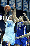 25 November 2012: North Carolina's Hillary Fuller and Asheville's Abra Sickles (23). The University of North Carolina Tar Heels played the UNC Asheville Bulldogs at Carmichael Arena in Chapel Hill, North Carolina in an NCAA Division I Women's Basketball game. UNC won the game 101-42.