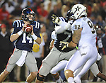 Mississippi quarterback Bo Wallace (14) looks to pass vs. Vanderbilt at Vaught-Hemingway Stadium in Oxford, Miss. on Saturday, November 10, 2012. (AP Photo/Oxford Eagle, Bruce Newman)