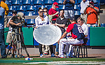 11 March 2014: Washington Nationals pitcher A.J. Cole is interviewed by MASN prior to a Spring Training game against the New York Yankees at Space Coast Stadium in Viera, Florida. The Nationals defeated the Yankees 3-2 in Grapefruit League play. Mandatory Credit: Ed Wolfstein Photo *** RAW (NEF) Image File Available ***