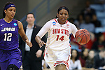 21 March 2015: Ohio State's Ameryst Alston (14) and James Madison's Precious Hall (12). The Ohio State University Buckeyes played the James Madison University Dukes at Carmichael Arena in Chapel Hill, North Carolina in a 2014-15 NCAA Division I Women's Basketball Tournament first round game.