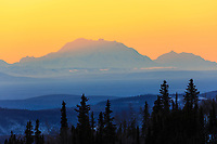 Mt. Denali and Mt. Foraker visible from Fairbanks, with Fata Morgana mirage effects from cold weather.