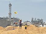 Boys fly a kite in Shejaiya, a neighborhood of Gaza City that was hard hit by the Israeli military during the 2014 war.