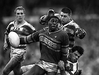 Pix:Michael Steele/SWpix...Leeds v Wigan, 1987. Rugby League. From the book 'When Push Comes to Shove'....COPYRIGHT PICTURE>>SIMON WILKINSON..Leeds' Roy Powell in action against Wigan.
