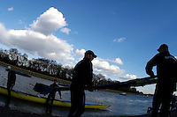 PUTNEY, LONDON, ENGLAND, 05.03.2006, Oxford prepare to boat. Pre 2006 Boat Race Fixtures,.   © Peter Spurrier/Intersport-images.com..OUBC, Bow Robin Esjmond-Frey, No.2 Colin Smith, No.3 Jake Wetzel, No.4 Paul Daniels, No.5 James Schroeder. No.6 Barney Williams, No. 7 Tom Parker, stroke Bastien Ripoll, and cox Nick Brodie,[Mandatory Credit Peter Spurrier/ Intersport Images] Varsity Boat Race, Rowing Course: River Thames, Championship course, Putney to Mortlake 4.25 Miles Sunrise, Sunsets, Silhouettes