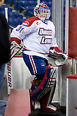 Doug Carr (Lowell - 31) led his team onto the ice for warmups. - The visiting Minnesota State University-Mankato Mavericks defeated the University of Massachusetts-Lowell River Hawks 3-2 on Saturday, November 27, 2010, at Tsongas Arena in Lowell, Massachusetts.