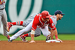 2 September 2012: St. Louis Cardinals infielder Daniel Descalso gets a sliding Bryce Harper out on a double-play against the Washington Nationals at Nationals Park in Washington, DC. The Nationals edged out the visiting Cardinals 4-3, capping their 4-game series with three wins. Mandatory Credit: Ed Wolfstein Photo