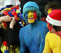 A Romanian supporter at the Rugby World Cup pool match between England and Georgia at Otago Stadium, Dunedin, New Zealand, Sunday, September 18, 2011. Credit:SNPA / Dianne Manson.