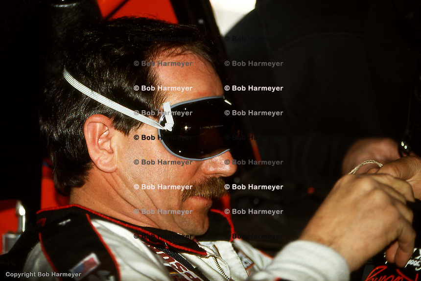 DAYTONA BEACH, FL - FEBRUARY 16: Dale Earnhardt prepares to drive during practice for the Daytona 500 on February 16, 1992, at the Daytona International Speedway in Daytona Beach, Florida.