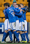 St Johnstone v Kilmarnock.....09.11.13     SPFL<br /> Stevie May celebrates his second goal<br /> Picture by Graeme Hart.<br /> Copyright Perthshire Picture Agency<br /> Tel: 01738 623350  Mobile: 07990 594431