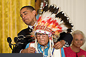 US President Barack Obama awards Joseph Medicine Crow the 2009 Presidential Medal of Freedom, America's highest civilian honor, during a ceremony in the East Room of the White House in Washington, DC, USA on 12 August 2009. Medicine Crow, the last living Plains Indian war chief, is the author of seminal works in Native American history and culture.