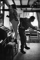 Playing pool and dusting at the Sun Inn, Crofton, West Yorkshire.