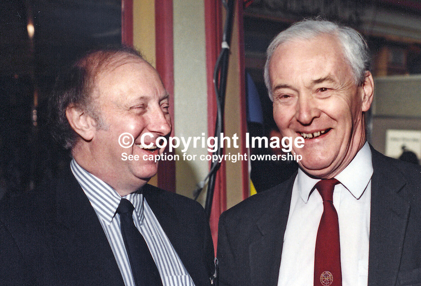 Tony Benn, MP, Labour Party, UK, Westminster Parliament, right, with Arthur Scargill, President, National Union of Mineworkers, at Labour Party Conference, 19940927/AS+TWB..Copyright Image from Victor Patterson, 54 Dorchester Park, Belfast, UK, BT9 6RJ..Tel: +44 28 9066 1296.Mob: +44 7802 353836.Voicemail +44 20 8816 7153.Skype: victorpattersonbelfast.Email: victorpatterson@mac.com.Email: victorpatterson@ireland.com (back-up)..IMPORTANT: If you wish to use this image or any other of my images please go to www.victorpatterson.com and click on the Terms & Conditions. Then contact me by email or phone with the reference number(s) of the image(s) concerned.