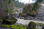 Elwha River Restoration, Elwha Dam removal, On March 16, 2012, River returns to original bed with removal of the cofferdam. Largest dam removal project in US history, Olympic National Park, Olympic Peninsula, Washington State, Pacific Northwest, USA, North America,
