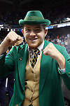13 March 2015: Notre Dame's mascot. The Notre Dame Fighting Irish played the Duke University Blue Devils in an NCAA Division I Men's basketball game at the Greensboro Coliseum in Greensboro, North Carolina in the ACC Men's Basketball Tournament semifinal game. Notre Dame won the game 74-64.
