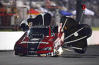 May 18, 2012; Topeka, KS, USA: NHRA funny car driver Cruz Pedregon during qualifying for the Summer Nationals at Heartland Park Topeka. Mandatory Credit: Mark J. Rebilas-