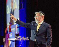 Lord Rabbi Jonathan Sacks addresses the General Assembly of the Jewish Federations of North America for the second year in a row at the Washington Hilton Hotel in Washington, DC on Sunday, November 13, 2016. Speaking before the international gathering of thousands of Jewish leaders he said, &quot;since we last met, the world has gone mad.&quot;<br /> Credit: Ron Sachs / CNP /MediaPunch