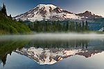 Mount Rainier reflected in one of many lakes in the Mount Rainier National Park, Washington
