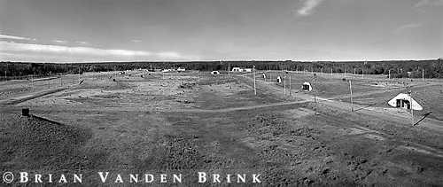Overall view of weapons storage facility including plutonium storage bunkers