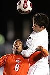 16 November 2007: Boston College's Paul Gerstenberger (2) outleaps Virginia Tech's Scott Spangler (8) for a header. Boston College defeated Virginia Tech 3-1 at SAS Stadium in Cary, NC in an Atlantic Coast Conference Men's Soccer tournament semifinal.
