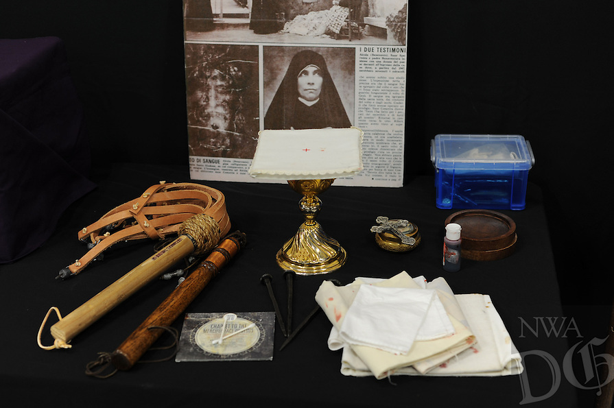 NWA Democrat-Gazette/ANDY SHUPE<br /> Items used by Donald Nohs, director general of the Confraternity of the Passion International, in his presentation about the Should of Turin sit on a table Saturday, Jan. 16, 2016, at St. Joseph Catholic Church in Tontitown.