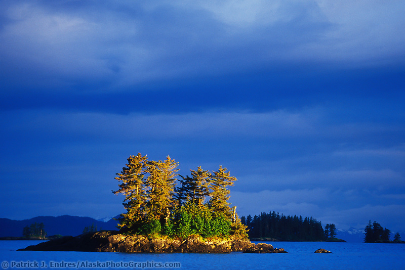 Islands in golden sunshine in Northern Prince William Sound, Alaska.