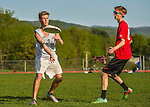 14 May 2015: The Vermont Commons School Flying Turtles Ultimate Disk Team visits Champlain Valley Union High School at Farrell Park in South Burlington, Vermont. CVU edged out VCS 13-11. Mandatory Credit: Ed Wolfstein Photo *** RAW (NEF) Image File Available ***